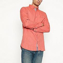 Mantaray - Big and tall orange herringbone long sleeve regular fit shirt