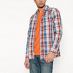 Mantaray - Blue checked long sleeve regular fit shirt
