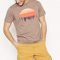 Mantaray - Big and Tall Beige Sunset Graphic Cotton T-Shirt