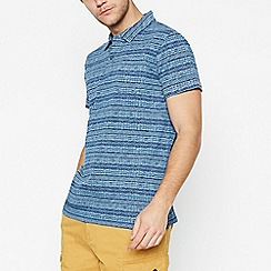 Mantaray - Blue Striped Cotton Polo Shirt