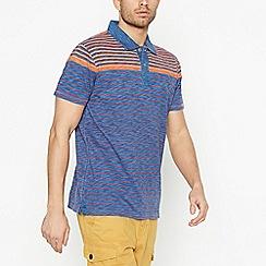 Mantaray - Big and tall dark blue stripe cotton polo shirt