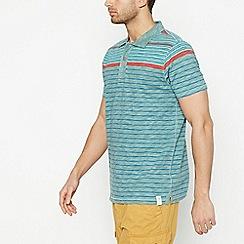 Mantaray - Big and tall dark green stripe cotton polo shirt