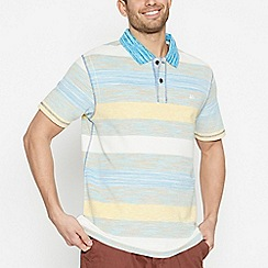 Mantaray - Big and Tall Blue Striped Cotton Polo Shirt