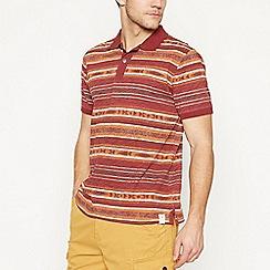 Mantaray - Big and tall maroon striped cotton polo shirt