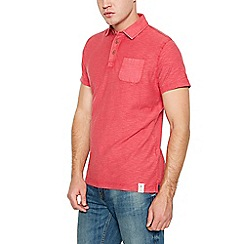 Mantaray - Big and tall red vintage wash cotton polo shirt