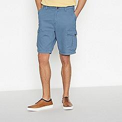 Mantaray - Big and tall blue cotton cargo shorts