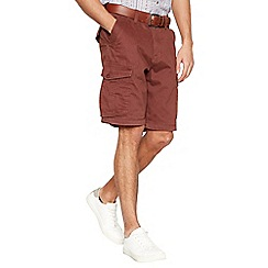 Mantaray - Big and tall dark brown cargo shorts