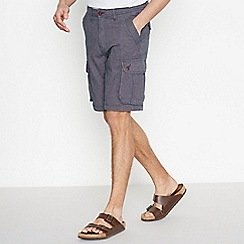 Mantaray - Navy Textured Cotton Cargo Shorts