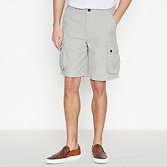 Mantaray - Light Grey Textured Cotton Cargo Shorts