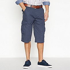 Mantaray - Big and tall navy cotton slub shorts