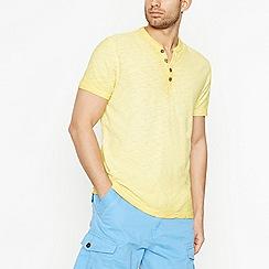 Mantaray - Yellow Notch Neck Cotton T-Shirt