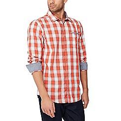 Mantaray - Orange checked long sleeve regular fit shirt