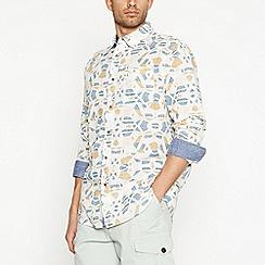 Mantaray - Off White Aztec Long Sleeve Regular Fit Shirt