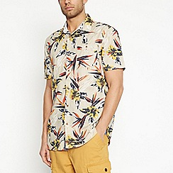 Mantaray - Yellow Floral Short Sleeve Regular Fit Shirt