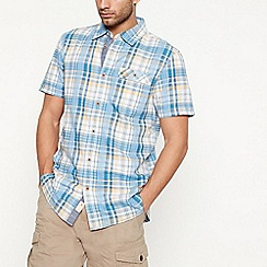 Mantaray - Blue textured check short sleeve regular fit shirt