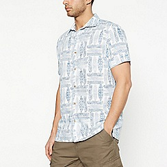 Mantaray - Off White Tetris Surf Short Sleeve Regular Fit Shirt