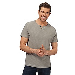 Mantaray - Big and tall light grey open button neck t-shirt
