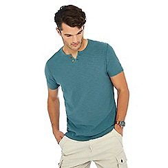 Mantaray - Dark turquoise Y neck t-shirt