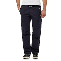 Mantaray - Big and tall navy zip off legs belted cargo trousers