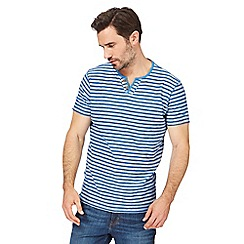 Mantaray - Big and tall blue striped y neck t-shirt