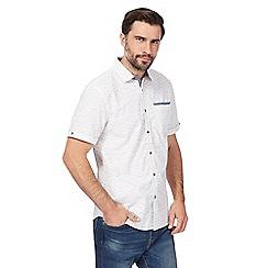 Mantaray - Big and tall off white slub striped shirt