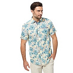 Mantaray - Big and tall yellow textured tropical flower short sleeved shirt