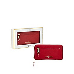 J by Jasper Conran - Red 'Nubuck' leather zip around large purse in a gift box