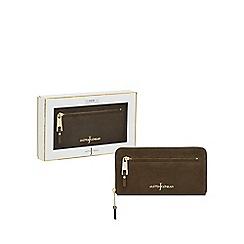 J by Jasper Conran - Khaki 'Nubuck' leather zip around purse