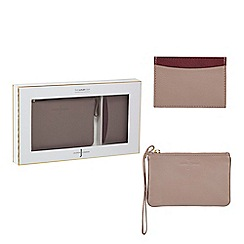 J by Jasper Conran - Pink leather wristlet and cardholder set in a gift box