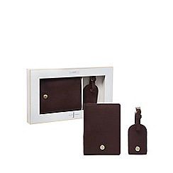 J by Jasper Conran - Dark red leather passport holder and luggage tag