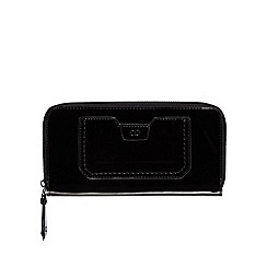The Collection - Black patent zip around large purse