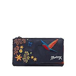 Mantaray - Navy embroidered hummingbird foldover purse