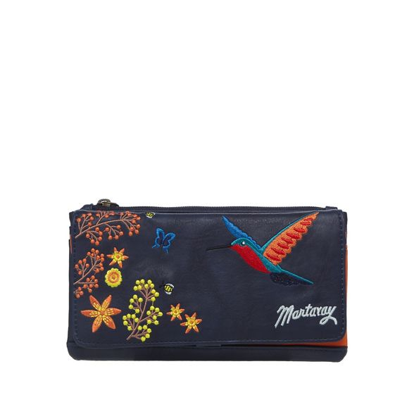 purse foldover Mantaray embroidered Navy hummingbird IpgpTqw8nZ