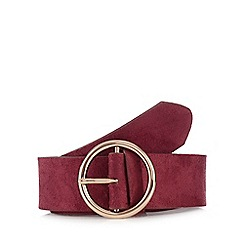 The Collection - Wine red suedette circle buckle belt