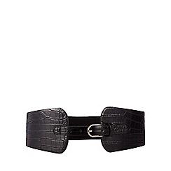 The Collection - Black croc-effect elasticated waist belt
