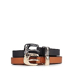 Mantaray - Pack of two black and brown belts