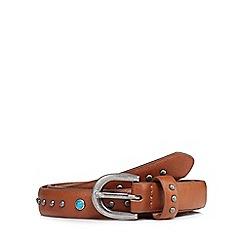 Mantaray - Tan studded thin belt