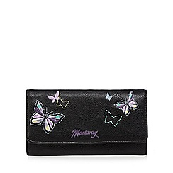 Mantaray - Black butterfly embroidered large purse