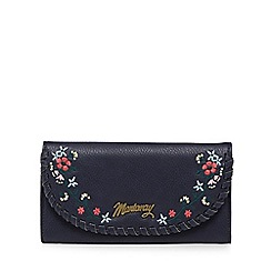 Mantaray - Navy whipstitch floral embroidered large purse