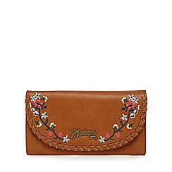 Mantaray - Tan whipstitch floral embroidered large purse