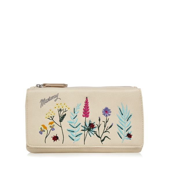 Mantaray embroidered purse large Cream floral rapwSHxqrf
