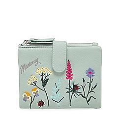 Mantaray - Light green botanical embroidered purse