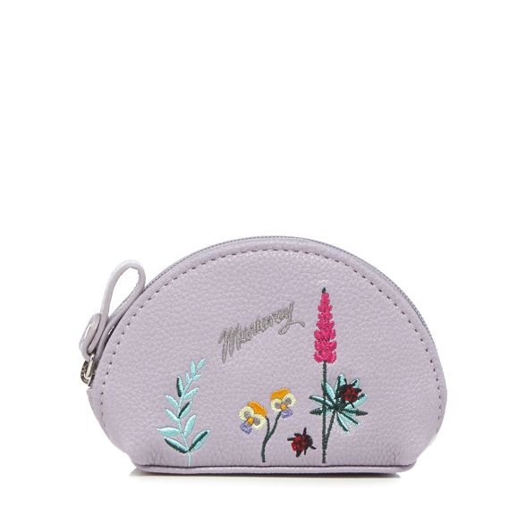 Mantaray Lilac embroidered coin botanical purse CSH6wnqC