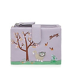 Mantaray - Lilac cat and blossom embroidered purse