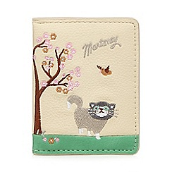 Mantaray - Cream cat and blossom embroidered purse