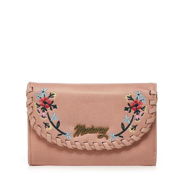 Mantaray pink purse Light over whipstitch flap 1CUwz