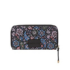 Red Herring - Multi-coloured paisley print quilted large zip around purse