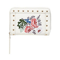 Red Herring - White floral embroidered purse