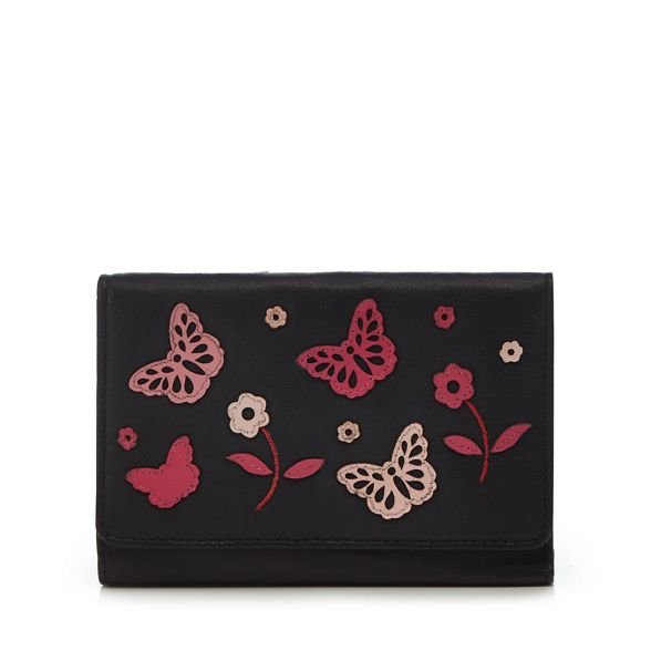 butterfly purse medium appliqué leather Collection Black The nwCxzqgURp