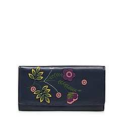 The Collection - Navy leather floral appliqué large flapover purse